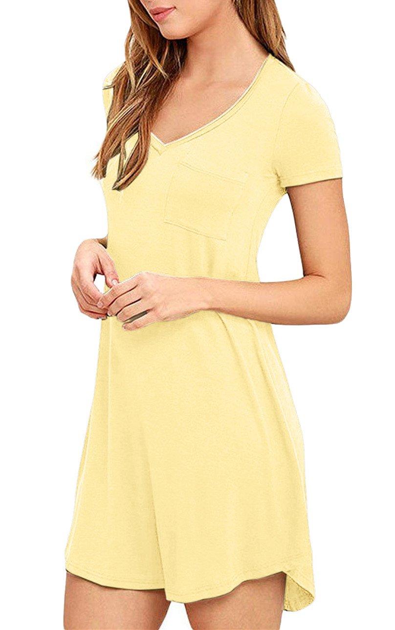 Eanklosco Womens Casual Short Sleeve Plain Pocket V Neck T Shirt Tunic Dress (Yellow, M)