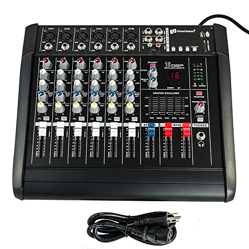 iMeshbean 2000 Watt 6 Channel Professional Powered Mixer Power Mixing Amplifier Amp 16DSP with USB Slot M#02 USA by iMeshbean®