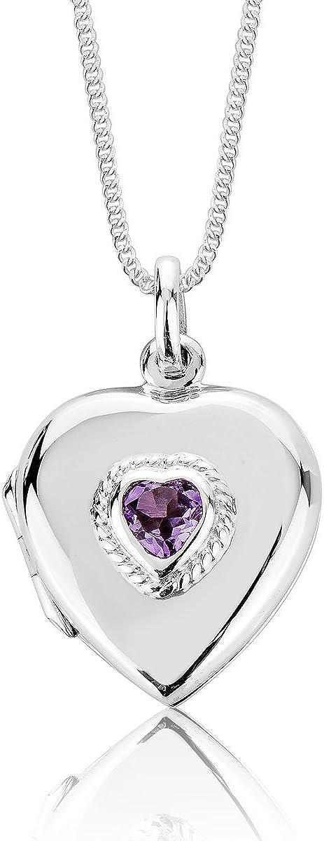 DTP Silver – Colgante/Medallón en Forma de Corazón de Plata 925 - Cadena Ajustable 40-45 cms - Varias Piedras Naturales Semipreciosas