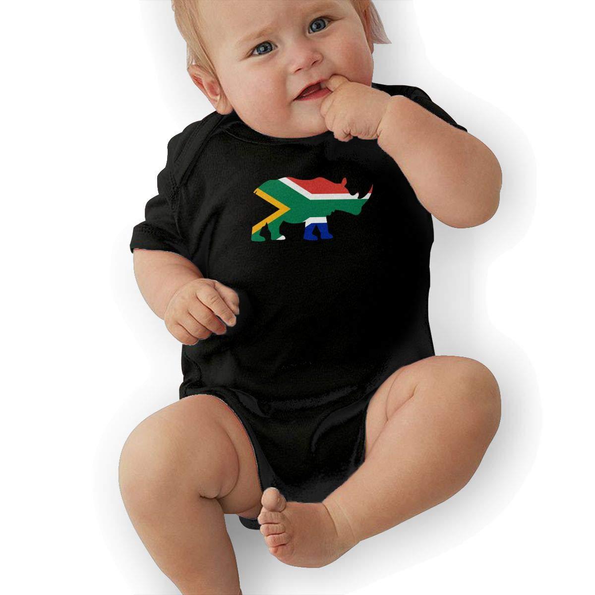 Mri-le2 Infant Short Sleeve Jersey Bodysuit Rhino South Africa Flag Infant Romper Jumpsuit