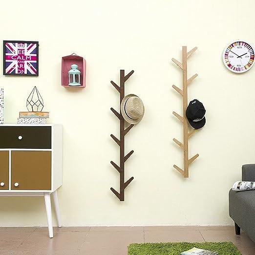 WEII Perchero de Pared de Madera Maciza para Colgar en el salón o el Dormitorio, Wood Color, 98 * 22 * 7cm
