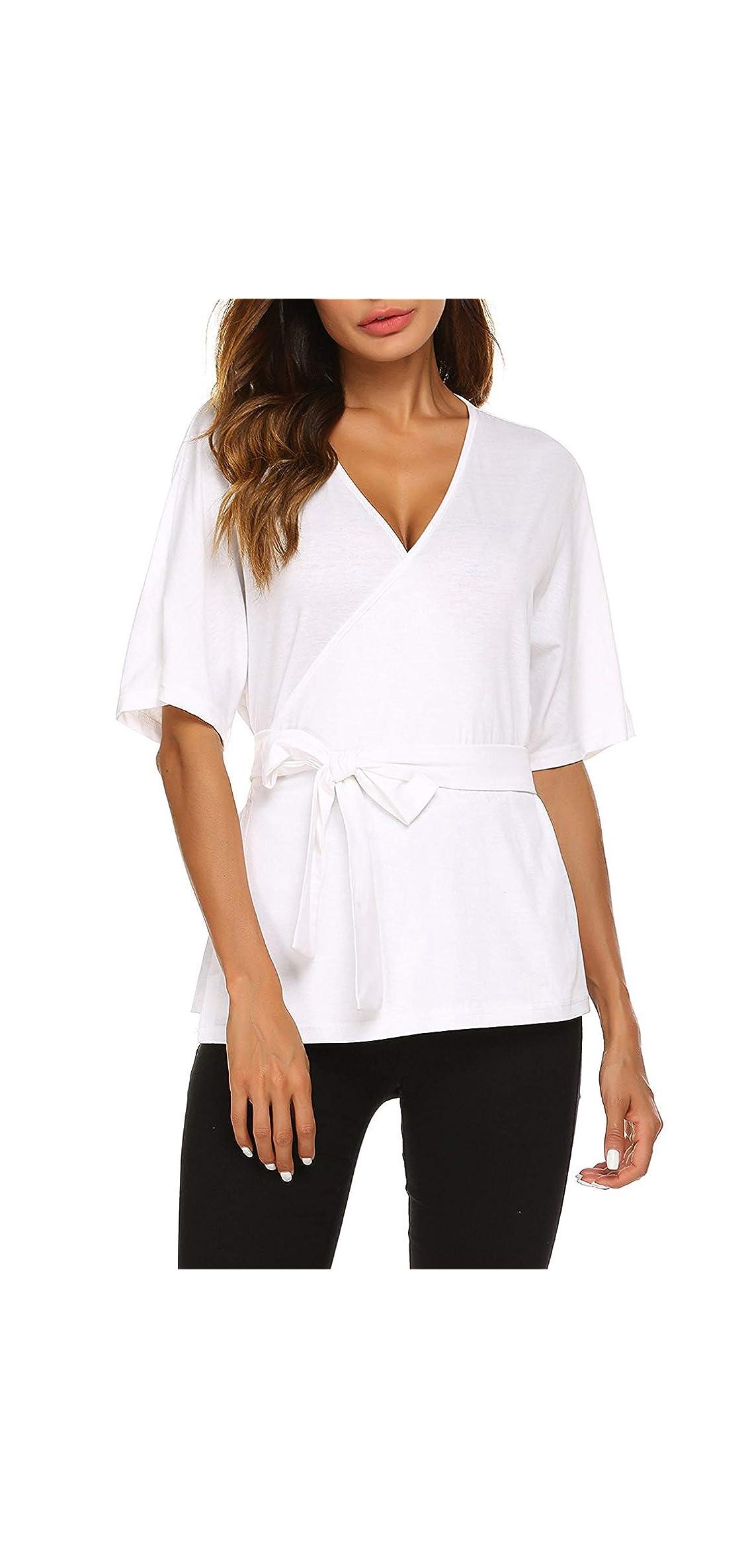 Dressy Blouses For Women Tie Front Short Sleeve V Neck