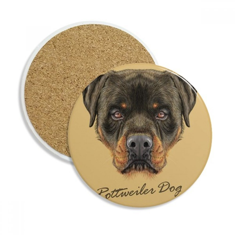 Black Ferocious Rottweiler Dog Pet Animal Ceramic Coaster Cup Mug Holder Absorbent Stone for Drinks 2pcs Gift
