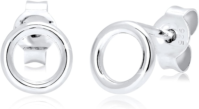 Elli Pendientes básicos redondos para mujer, diseño geométrico minimalista, fabricados en plata de ley de 925