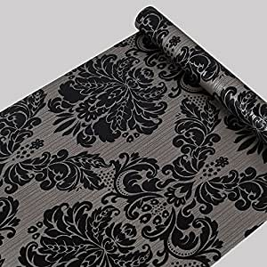 Vinilo autoadhesivo papel de contacto decorativo de damasco negro para armarios puerta - Papel autoadhesivo decorativo ...
