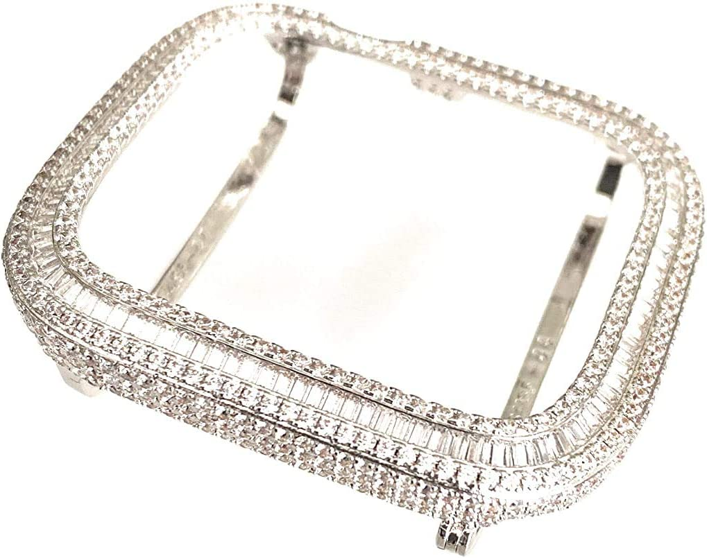 EMJ Sparkling Apple Watch Full Loaded Bling Baguette & Round Zirconia Lab Diamonds Handcraft Encrusted Cover Bezel Case Face Plate Bumper S4 S5 Series 4/5 Silver White Gold 40/44 mm (44 mm)