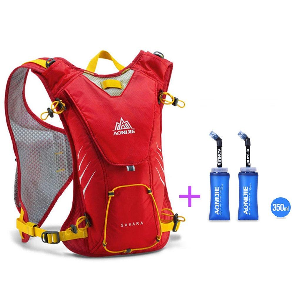 AONIJIE Hydrationバックパック防水ナイロン8lベストパックforマラソンサイクリングハイキングRunning +ソフト水フラスコオプション  Orange,with 2 Bottles B07568GRTM