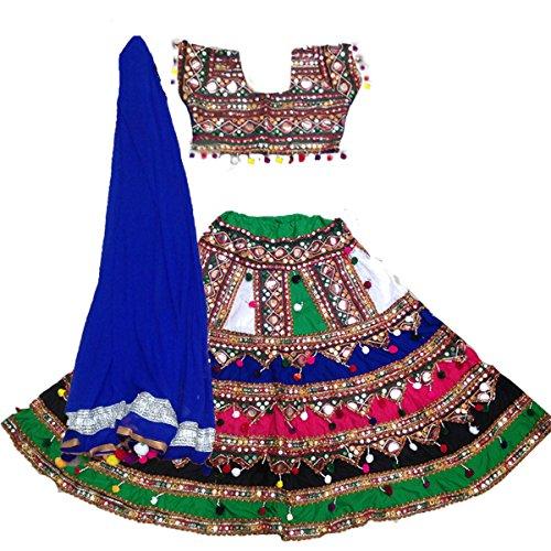 Aglare Lehenga Choli Cotton Mirror Work,navratri,garba,gujarat,kuch embroidery lehenga choli