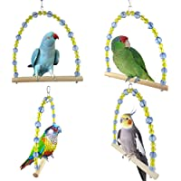 Sanwooden Funny Parrot Toy Colorful Pet Parrot Swing Bird Cage Toy Wooden Suspension Bridge Hanging Decor Pet Supplies