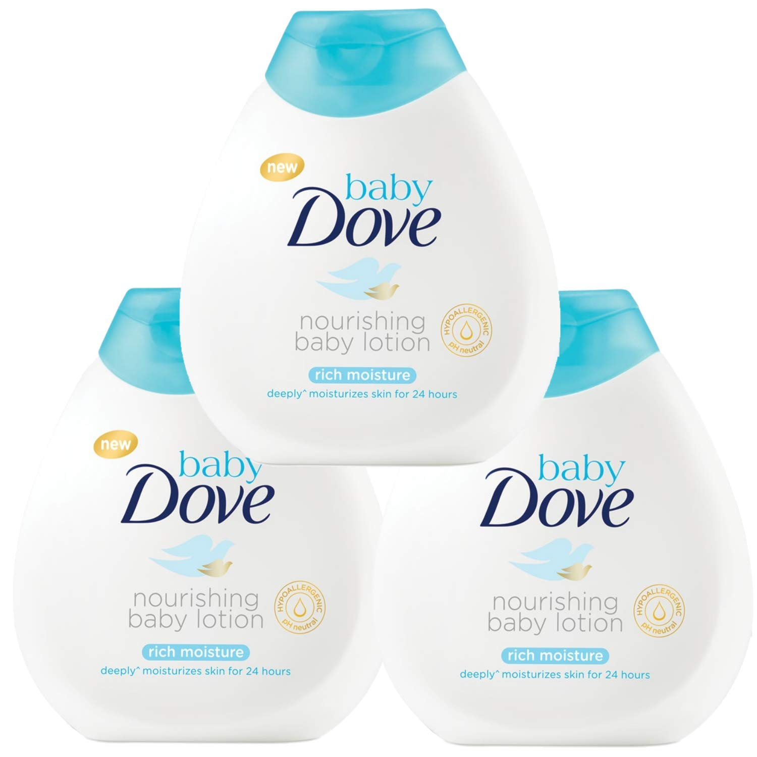 Dove Baby Sensitive Moisture Nourishing Baby Lotion, Fragrance Free - 6.76 Fl Oz / 200 mL x Pack of 3 by Dove