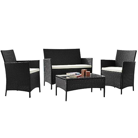 BAKAJI Juego Centro Completo de sofá 2 sillones y Mesa de ...