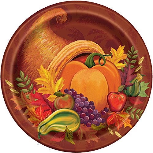 Fall Harvest Thanksgiving Dinner Plates, 8ct