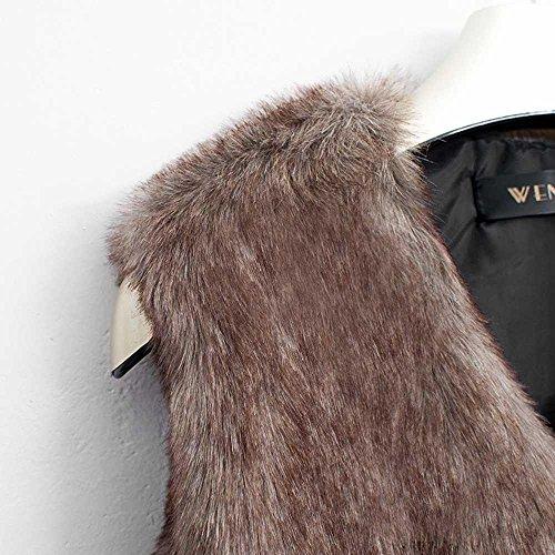 Promotion Big Fur Faux Gilet Clearance Long Brun Gilet Covermason Veste Vest Manteaux Vtement Gilet 1Ev5qvfxw