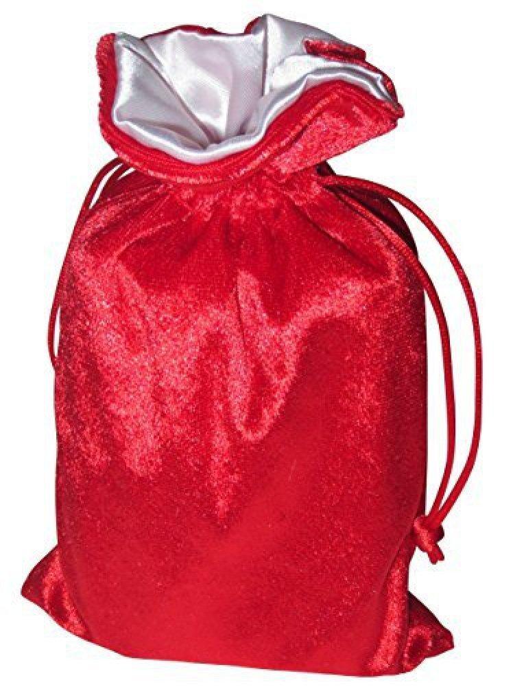 5x8 Red Velvet Dice Bag with White Satin Lining PAPER MART