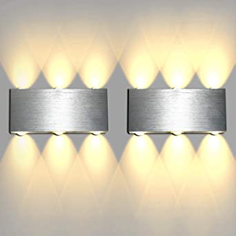Lightess 2 Paquetes Apliques de Pared LED Lámpara de Pared Interior Luz Moderna Luz de Puro Aluminio para Escaleras, Sala de estar, Dormitorio: Amazon.es: Iluminación
