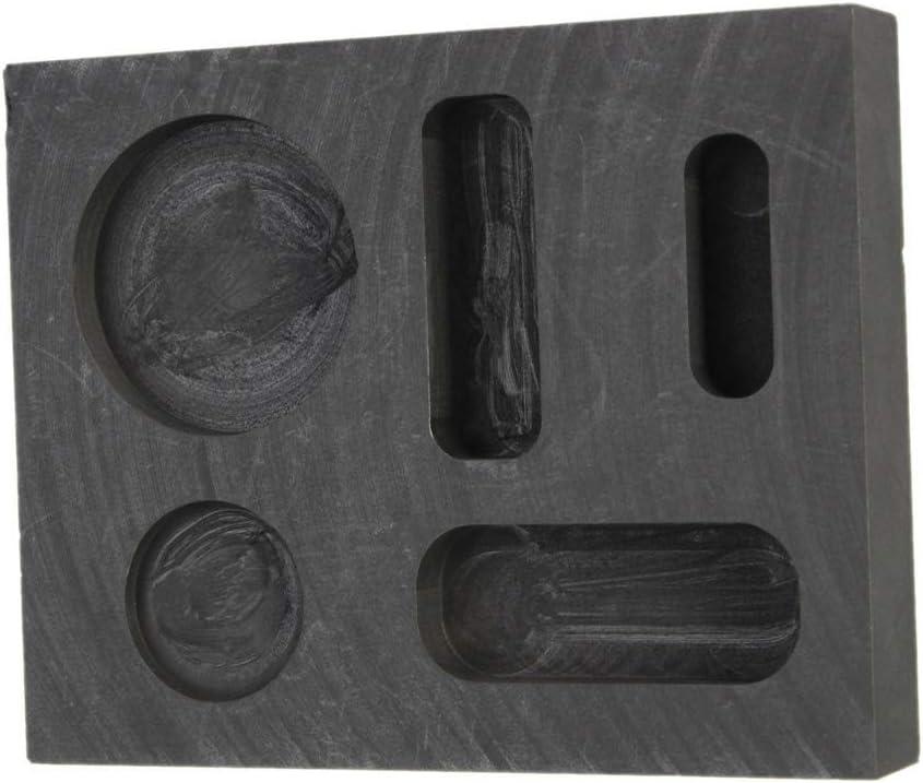 GFCGFGDRG 5 Ranuras Grafito Colada de lingotes Molde de Metal de Refinaci/ón de Molde 5 Ranuras de fusi/ón Herramienta del Molde de joyer/ía de Metal multifunci/ón Bricolaje