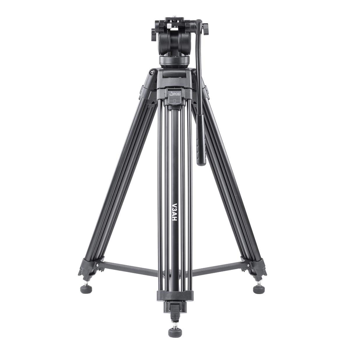 3Pod V3AH Video Tripod System Anodized Aluminum with 2-way Fluid Head & Quick-Release Plate: Include Free Carrying Case