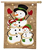 Evergreen Flag & Garden 13B3458 Snow Family House Flag, 28″ x 44″, Burlap For Sale