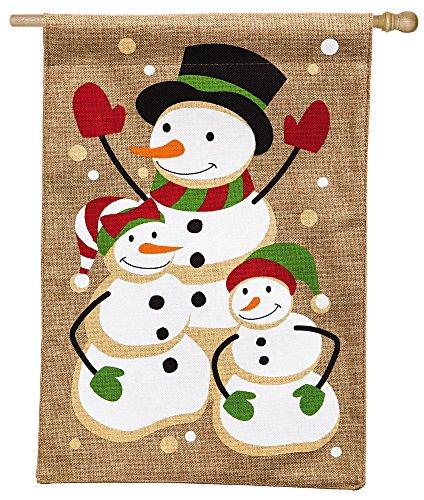Evergreen Flag & Garden 13B3458 Snow Family House Flag, 28″ x 44″, Burlap For Sale