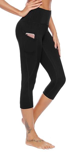 Amazon.com: AUU Pantalones de yoga de cintura alta, bolsillo ...