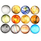 Planetary pattern Refrigerator Magnets - 12 Pack Fridge Magnets, 1.35 Inches Diameter, Best Housewarming Home Decorations Gift.
