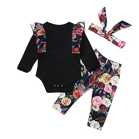 US Stock Newborn Infant Baby Girl Floral Tops Skirt Shorts Pants Bottoms Clothes
