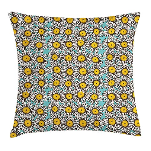 (Yingzsal Yellow and White Throw Pillow Cushion Cover, Sketch Style Daisy Bouquet on Abstract Romantic Illustration, Decorative Square Accent Pillow Case, 26 X 26 Inches, Pale Blue Marigold White)
