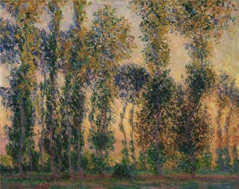 Oil Painting 'Claude Monet,Poplars At Giverny, 1887', 30 x 38 inch / 76 x 96 cm , on High Definition HD canvas prints is for Gifts And Foyer, Home Office And Kitchen Decoration, (Cheetah Print Lip Tattoos)