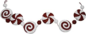 TG,LLC Treasure Gurus Huge Hanging Red White Stripe Peppermint Candy Garland Christmas Tree Ornament XL Holiday Xmas Decor