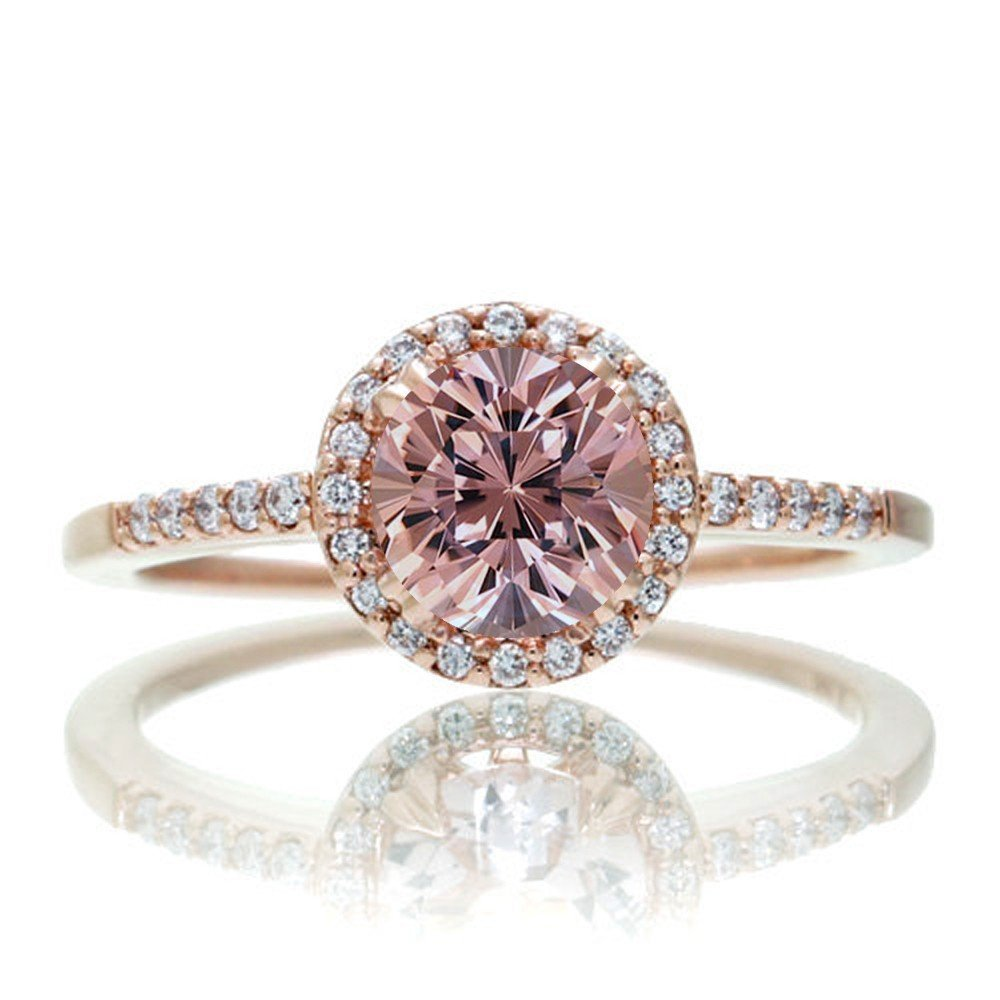 1.5 Carat Round Classic Morganite and Diamond Vintage Engagement Ring on 10k Rose Gold JeenJewels RHJGJoct606