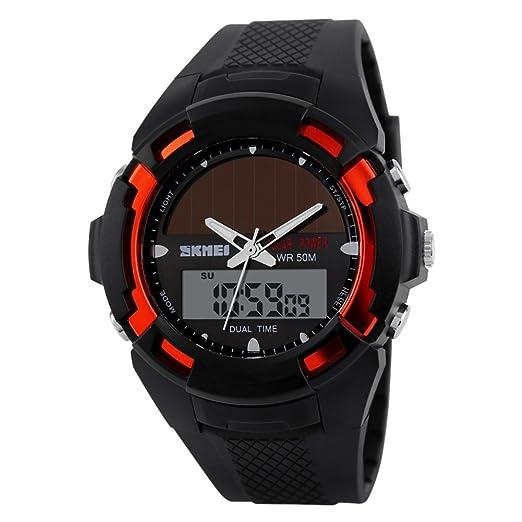 Moda personalidad aguja impermeable solar reloj digital/Reloj de los deportes al aire libre-A: Amazon.es: Relojes