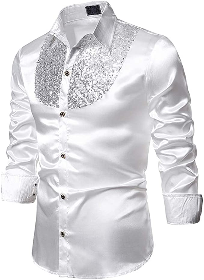 Formal Men Slim Ball Wedding Silk-Like Satin Long Sleeve Dress Shirts//TOPS S-XL