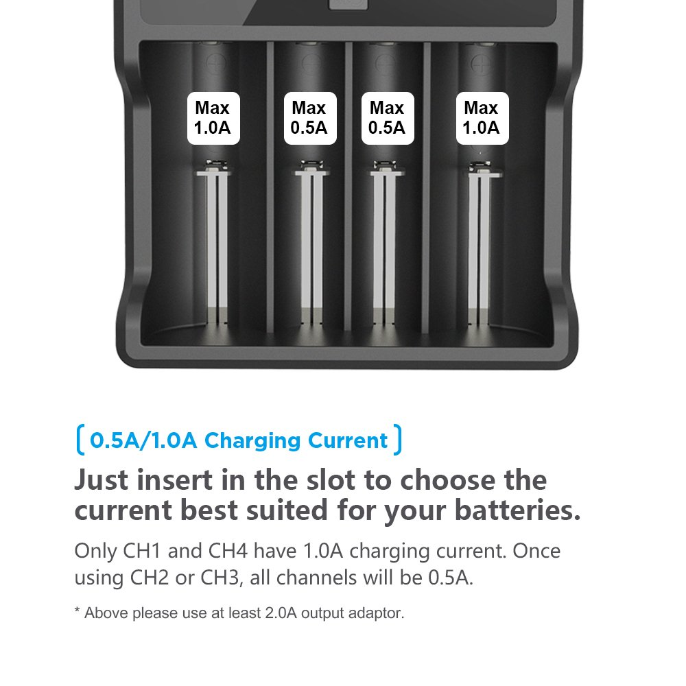 XTAR Vc2 Premium USB Charger W//LCD Screen For 3.6V//3.7V Li-Ion//Imr//Inr//Icr 10440 14500 14650 16340 17335 17500 17670 18350 18490 18500 18650 18700 20700 21700 22650 25500 26650 Li-Ion Battery Charger