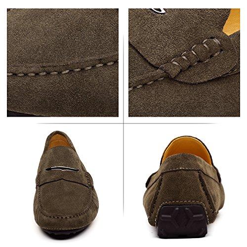 de Shenduo Ejército Mocasines Planos Zapatos Cuero Casuales Mocasines Loafers para Hombre Verano Verde Zapatos Hombre OrwIqxw