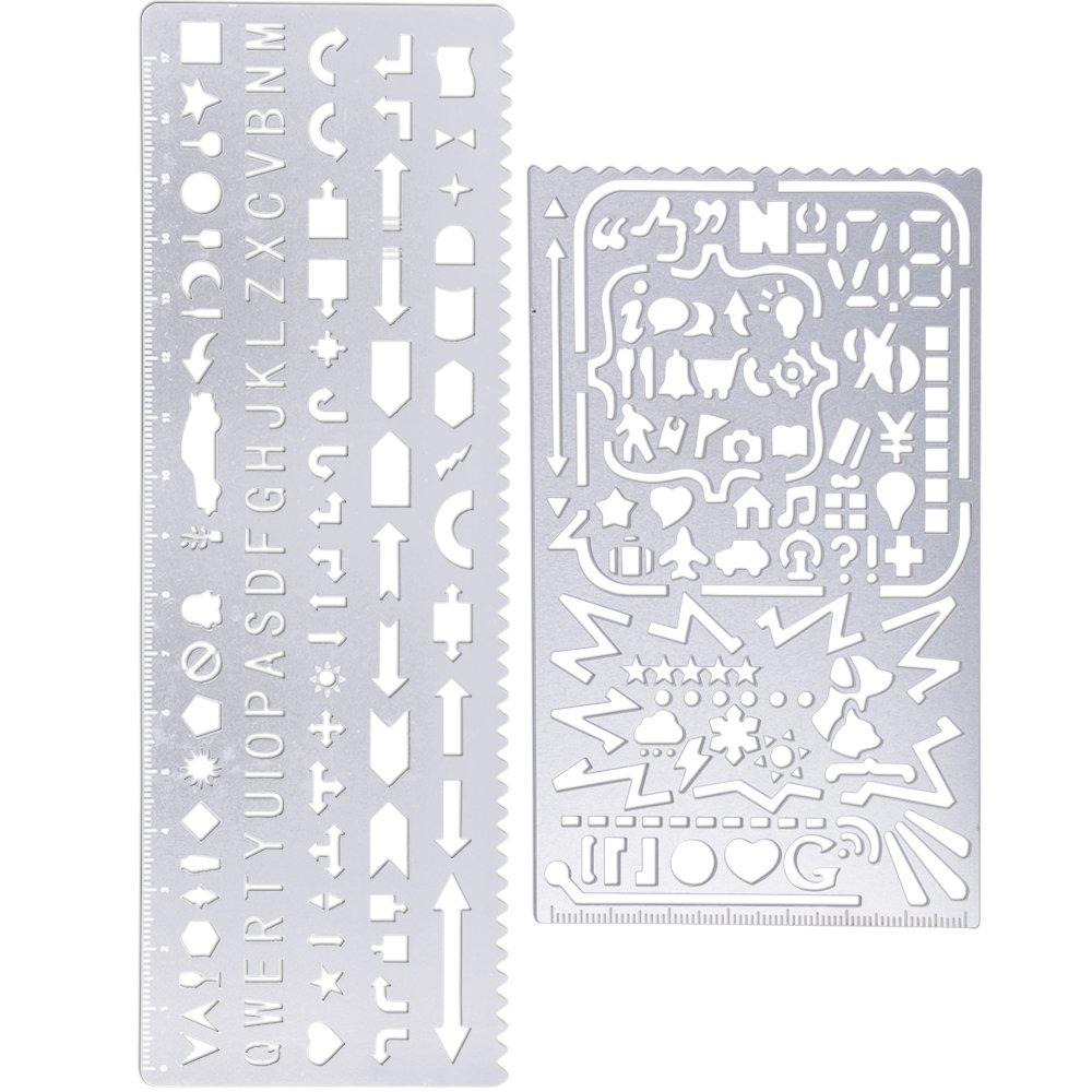 4 piezas Herramienta de regla de plantilla de dibujo de marcador hueco de acero inoxidable para /álbum de fotos DIY Diario de /álbum de recortes Gobesty Marcadores de metal Reglas huecas