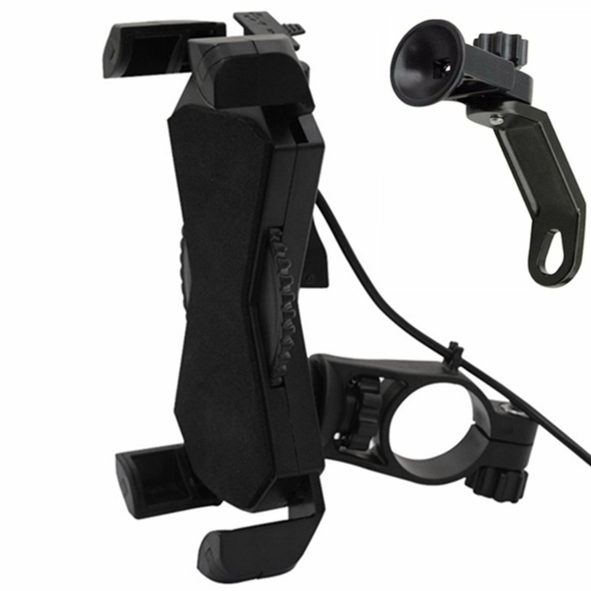 Motorcycle Phone Mount with USB Charger Port,DHYSTAR Bike Motorcycle Cell Phone Holder Mount Stand Bracket for Most Mobile Smartphones 4 to 7 //GPS,Adjustable Clamp,on Handlebar//Mirror