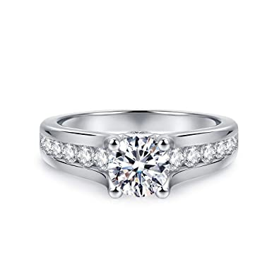 2e55d16139f24 Hafeez Center 4-Prong Set 6.5mm 1ct Simulated Diamond Cubic Zirconia CZ  Rhodium Plated on Silver Solitaire Engagement Ring Promise Ring Girls Women