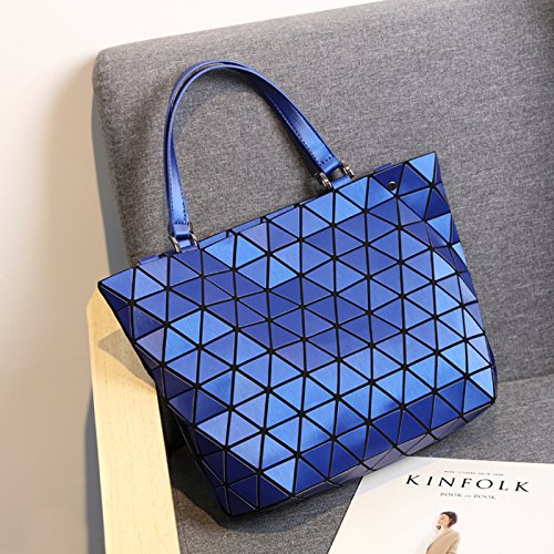 Matte Blue Bags Diamond Tote Shoulder Folding Bag Handbag Geometry Plaid Bag Blue Women Luminous Casual Laser Matte Matte Bucket Sequins Saser Mirror HqRvRF