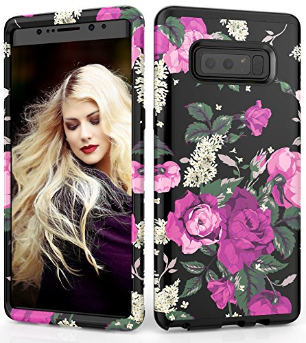 Samsung Galaxy Note 8 Case, Adcoog [Flower] Three Layers Heavy Duty Case for Girls/Women Hybrid Protective Floral Case for for Samsung Note 8 (Black+Flower 3)