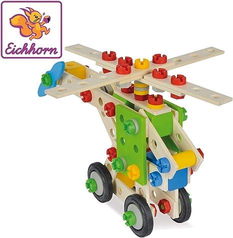 Eichhorn//Heros Constructor Kranwagen 65-teilig Holz-Konstruktionsset Spielzeug