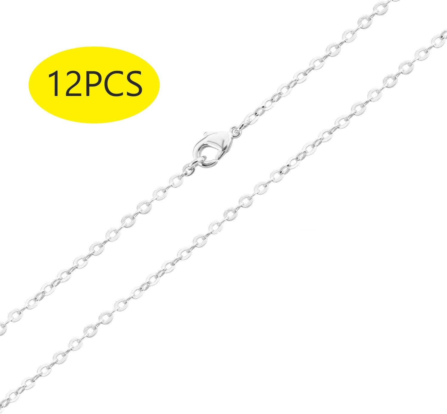 20inch 2mm Wholesale 12 PCS Silver Plated Solid Brass Flat Cable Chains Bulk for Jewellery Making 18-30 inches