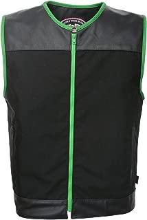 product image for HILLSIDE USA LEATHER INC. Zipper Racer Vest (Cordura - Military Grade Fabric) Black/Green