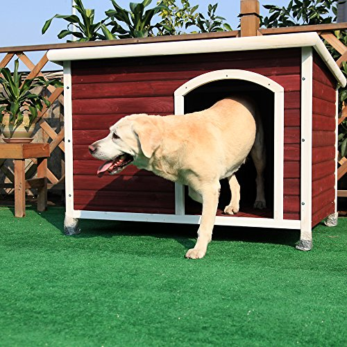 Petsfit 45.6 X 30.9 X 32.1 Inches Wooden Dog House, Outdoor