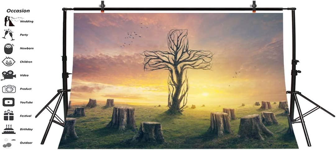 Yeele-Easter-Backdrop 10x8ft Easter Photography Background Branch Cross Wooden Pile Tree Stump Lawn Dead Wood Resurrection Sunset Sunshine Photo Backdrops Pictures Studio Props Wallpaper