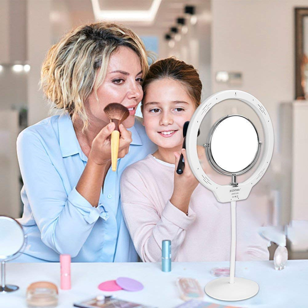 ZOMEI 10 Inch Dimmable LED Ring Light for Selfie Makeup with Mirror, Phone Holder (White) by ZOMEI (Image #7)