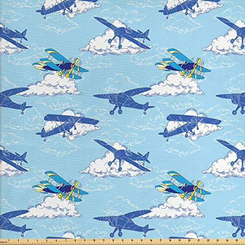 Ambesonne Vintage Airplane Fabric by The Yard, Aircraft Silhouettes Flying in The Sky Above The Clouds, Decorative Fabric for Upholstery and Home Accents, 1 Yard, Dark Blue Pale Blue Yellow