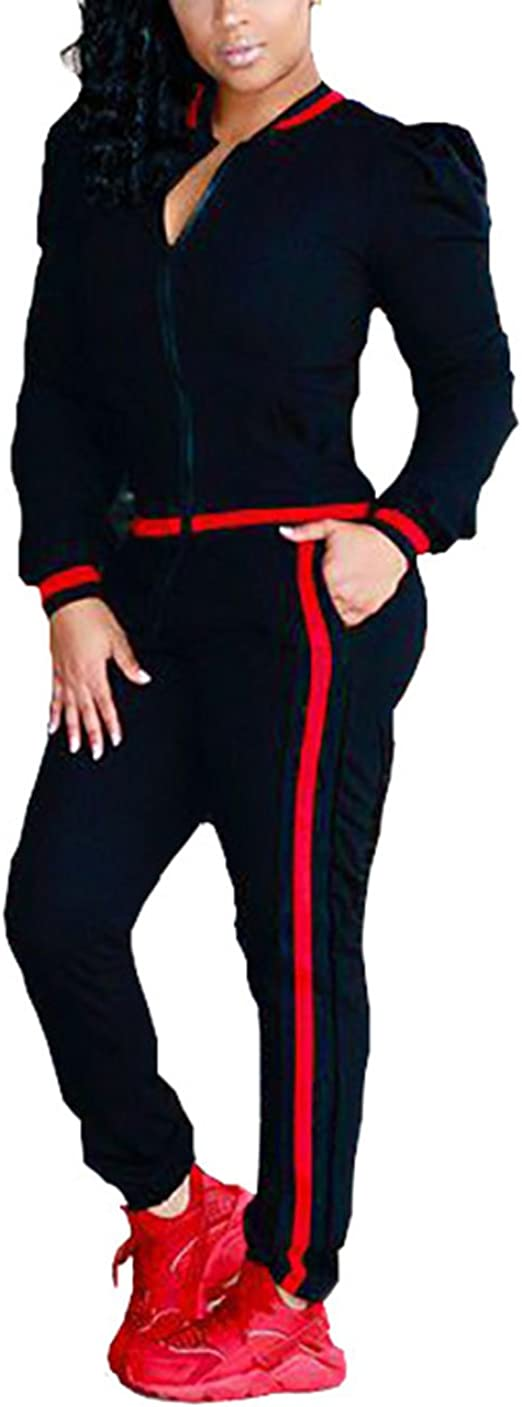 Akmipoem Womens 2 Pieces Outfits Long Sleeve Zipper Jacket and Pants Set Tracksuits