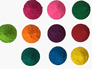 10 Colors x 50 grams - CraZeeColors(TM) Premium Holi Color Powder