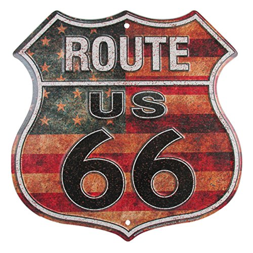 Flag Vintage Metal - HangTime Route 66 Vintage Metal Sign Distressed American Flag, Reproduction of the Old U.S. Rt. 66 Shield