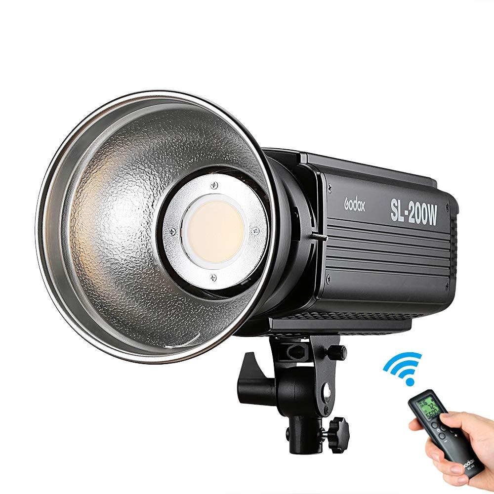 Godox 200W LED Video Light SL-200W,Bowens Mount 5600K, Studio Continuous LED Lamp for Camera DV Camcorder (White Light Version)